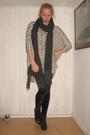 Beige-weekday-dress-black-monki-leggings-gray-h-m-scarf-black-din-sko-shoe