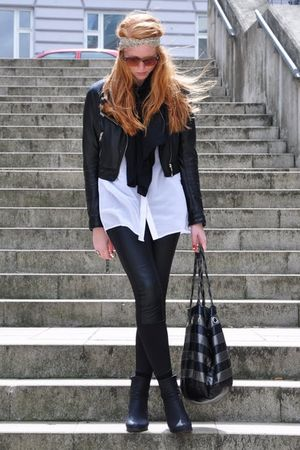 beige Topshop accessories - black H&amp;M jacket - black Zara scarf - white Monki sh