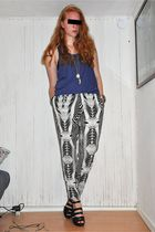 blue Monki top - black H&M pants - silver H&M necklace - black Monki shoes