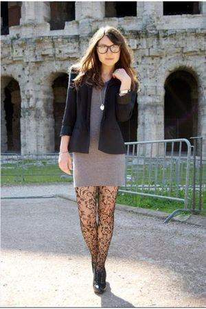 silver no brand dress - black vintage blazer - black lace t pompea tights