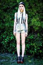 silver vegan croc Bad Vibes shorts - black Shoedazzle shoes