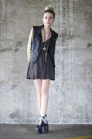 black Jeffrey Campbell shoes - charcoal gray vintage dress - black romwe jacket