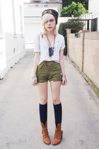 dark brown vintage hat - olive green vintage shorts - white ripped vintage t-shi