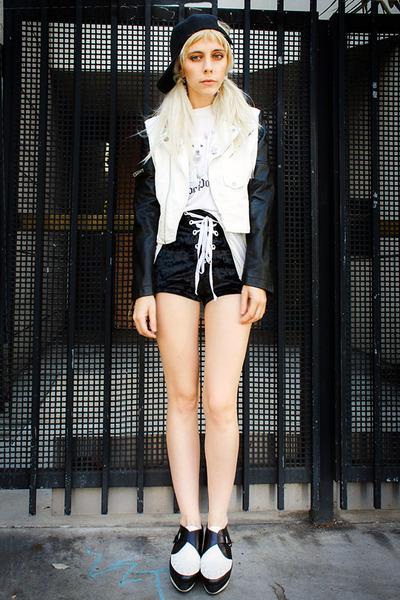 black 48 shoes - white motorcycle Original Cult jacket