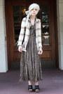 Ivory-vintage-cardigan-tan-vintage-skirt-olive-green-handmade-top