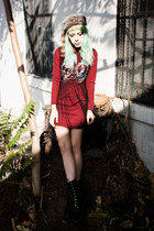 ruby red embroidered Choies dress