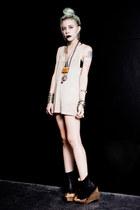 black OASAP boots - off white net vintage shirt - silver vanessa mooney necklace