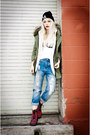 Brick-red-plaid-tuk-boots-olive-green-chicwish-jacket-white-dimepiece-top
