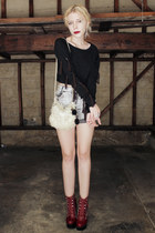 heather gray diy cutoff vintage shorts - crimson Jeffrey Campbell boots