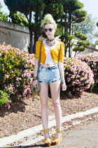 light blue vintage DIY shorts - mustard shoes - gold vintage shirt