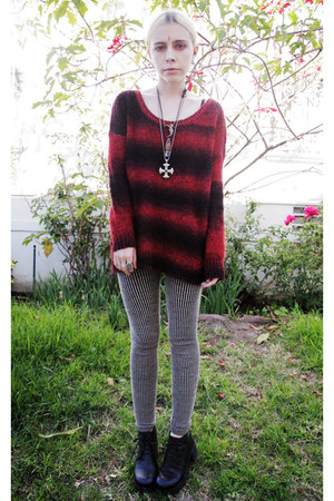crimson striped Urban Outfitters sweater - black platform Deena & Ozzy shoes