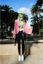 bubble gum kimono Ette jacket - white Choies shoes