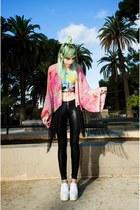 bubble gum kimono Ette jacket - white Choies shoes