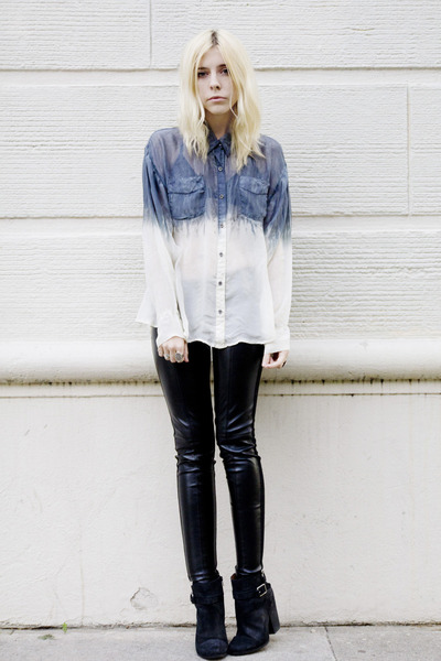 black LAST CALL leggings - black lucky boots - blue dip-dyed CRASH & BURN shirt