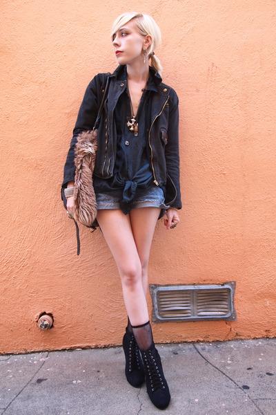 black vintage jacket - black lace-up Forever 21 boots