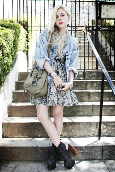 light blue denim vintage jacket - black lana Jeffrey Campbell shoes