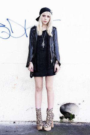 black Crash & Burn Apparel dress - camel leopard Sanee Alley shoes