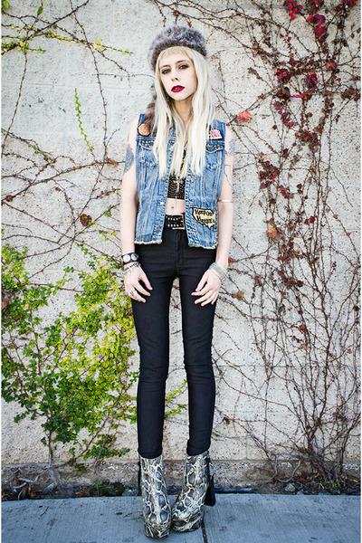 black Ksubi jeans - black gypsy warrior top - blue Kill City vest