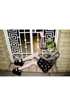 silver metallic Motel top - black platform vintage shoes - black Motel skirt