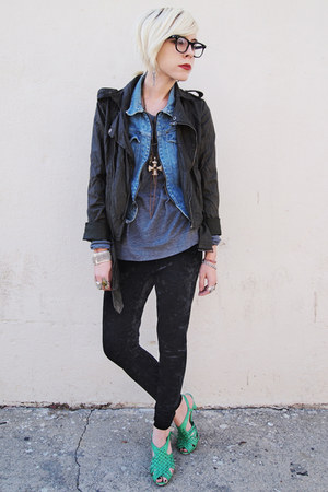 aquamarine H&amp;M shoes - charcoal gray Forever 21 jacket - silver nation shirt - s