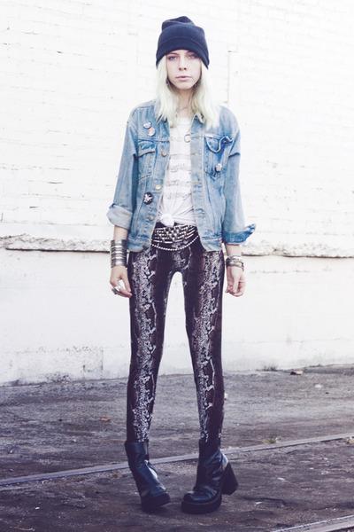 light blue denim vintage jacket - black thrifted boots