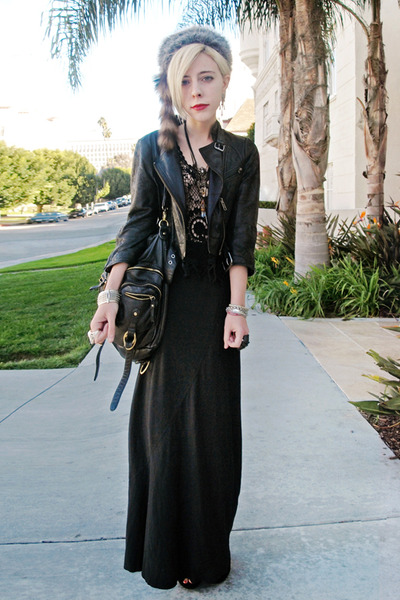 black catherine malandrino jacket - black crochet vintage top - black Forever 21