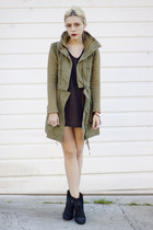 olive green army Lamb & Flag jacket - black lucky shoes