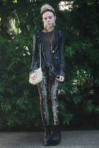black Jeffrey Campbell shoes - black leather SWORD jacket