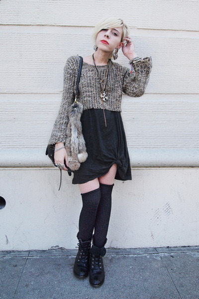 vintage dress - vintage sweater - Forever 21 socks