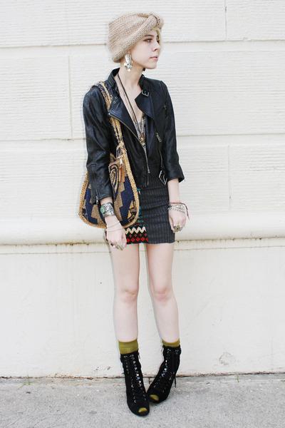 tan knit turban Forever 21 hat - black motorcycle catherine malandrino jacket -