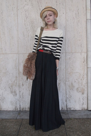 black striped H&M sweater - olive green vintage bag - black pleated vintage skir