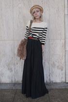 black striped H&M sweater - olive green vintage bag - black pleated vintage skir