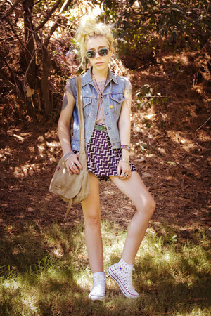 white studded Converse shoes - navy Sheinside shorts - violet versace sunglasses