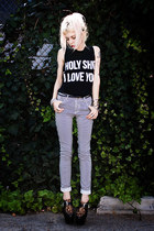black Jac Vanek shirt - black romwe shoes - black striped Sway Chic pants