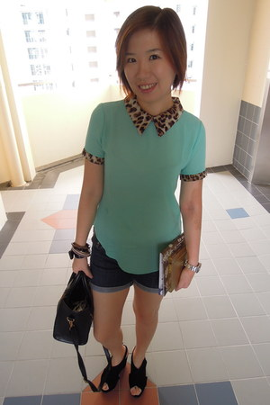 aquamarine top - bronze bag - navy shorts