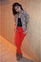 red H&M pants - heels Aldo shoes - plaid Burberry top - nexus top