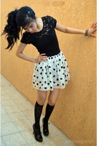 black knee high H&M socks - black lace H&M top - apple printed Splash skirt