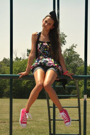 black 5 7 9 dress - blue JCpenney shorts - pink Rue 21 shoes - pink Claires brac