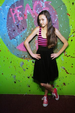 black striped loehmanns dress - hot pink high-tops Rue 21 sneakers - silver hoop