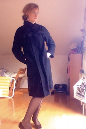 Dries Van Noten coat - Car shoes - vintage earrings - French Connection dress