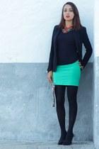 pull&bear necklace - Zara blazer - H&M skirt