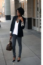 black Zara blazer - heather gray Fade to Blue jeans - white Zara top