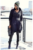 deep purple 31 Phillip Lim boots - black trench Chilli Pepper coat