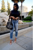 sky blue boyfriend Fade to Blue jeans - black lace rolla coster top
