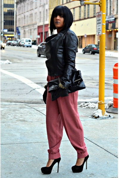 Black-leather-bcbgeneration-jacket-pink-trouser-pants