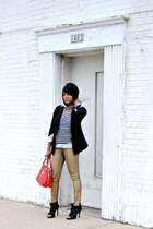 gold Zara jeans - Dolce Vita shoes - black DKNY jeans blazer - ruby red MCM bag