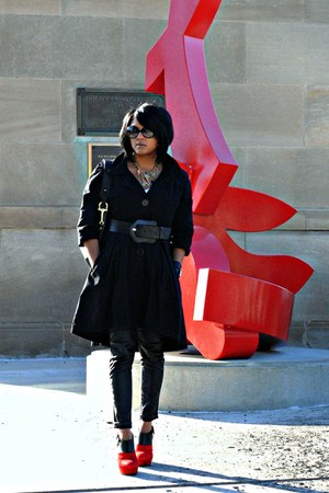 red Dolce Vita shoes - black Chilli Pepper coat - black INC pants