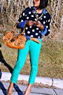 Navy-polka-dot-old-navy-sweater-green-colored-city-streets-jeans