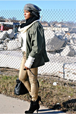 gold Zara jeans - black sam edelman boots - army green jacket