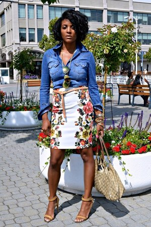 blue denim H&M shirt - Gucci bag - carrot orange floral print Forever 21 skirt